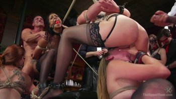 Some wild bondage orgy with lots of mouthfuck and fingerfuck.